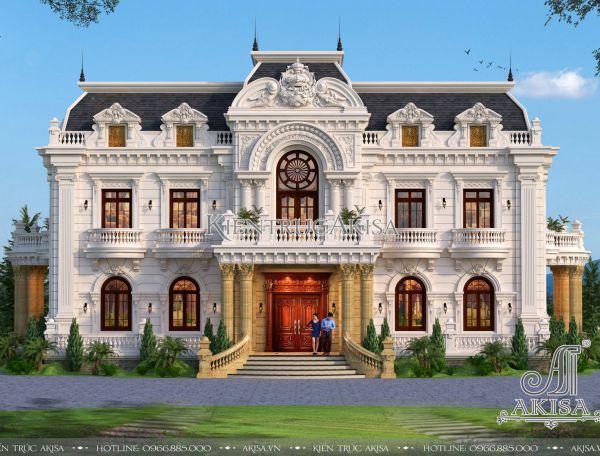 Thiết kế biệt thự dinh thự cổ điển Pháp (CĐT: ông Chính - Thanh Hóa) BT22279
