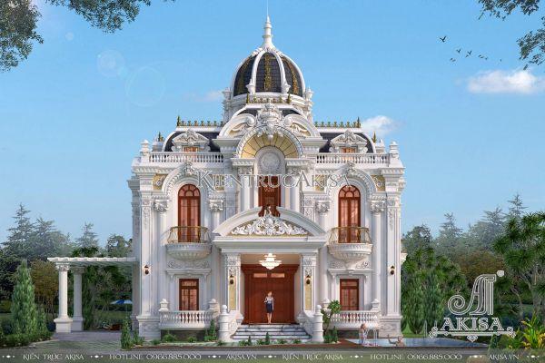 Thiết kế biệt thự lâu đài 2 tầng kiểu Pháp đẹp (CĐT: ông Sinh - Hà Tĩnh) BT23316