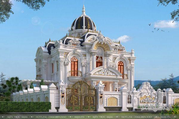 Mẫu biệt thự lâu đài cổ điển Pháp đẹp (CĐT: ông Sinh - Hà Tĩnh) BT23316