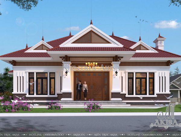 Biệt thự nhà vườn 1 tầng hiện đại mái Nhật (ông Chiến - Quảng Ninh) BT11308