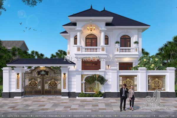 Thiết kế biệt thự tân cổ điển mái Nhật đẹp 2 tầng (CĐT: bà Vắng - Hải Phòng) BT22312