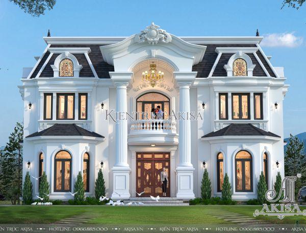 Thiết kế biệt thự 2 tầng phong cách Pháp (CĐT: ông Hồng - Thái Nguyên) BT22280