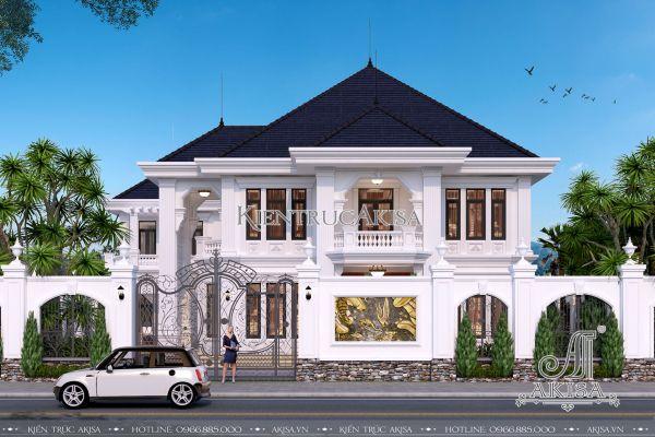 Thiết kế biệt thự 2 tầng mái Nhật đẹp (CĐT: bà Loan - Quảng Bình) BT22217