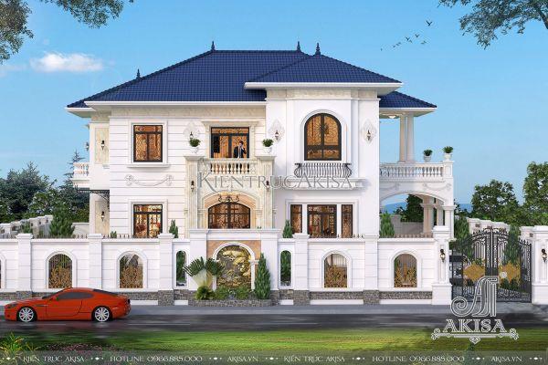 Thiết kế biệt thự 2 tầng tân cổ điển mái Nhật đẹp (CĐT: ông Nam - Nghệ An) BT22292
