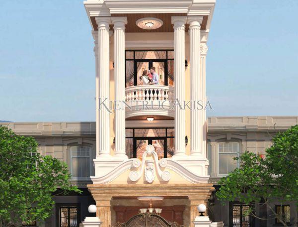 Mẫu thiết kế nhà lô phố tân cổ điển Pháp 4 tầng (ông Hưng - Vĩnh Phúc) KT42133