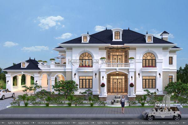 Thiết kế biệt thự tân cổ điển 2 tầng có sân vườn đẹp (CĐT: ông Hòa - Hà Tĩnh) BT22173