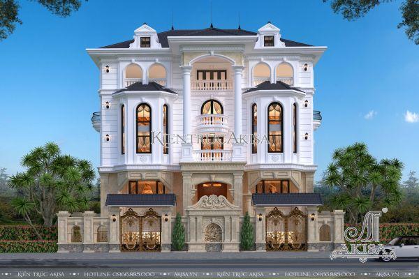 Thiết kế biệt thự tân cổ điển mái Nhật 5 tầng đẹp BT52317