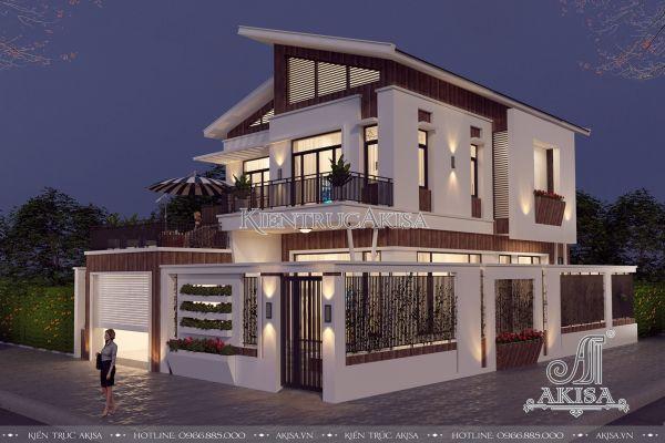 Ngỡ ngàng thiết kế biệt thự hiện đại 2 tầng mái chéo (CĐT: ông Hùng - Phú Thọ) BT21166