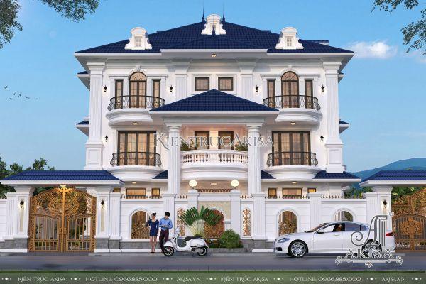 Mẫu biệt thự 3 tầng đẹp tân cổ điển (CĐT: bà Chi - Vĩnh Phúc) BT32286