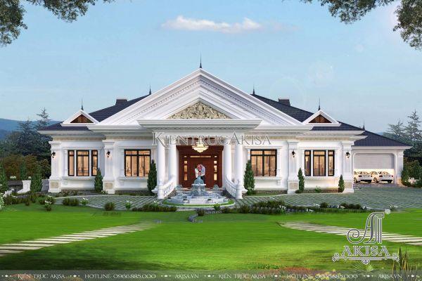 Mẫu biệt thự 1 tầng tân cổ điển đẹp (CĐT: ông Vũ - Hưng Yên) BT12341