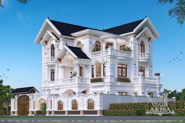 Thiết kế biệt thự tân cổ điển 3 tầng đẹp tinh tế (CĐT: bà Hồng - Thái Bình) BT32344