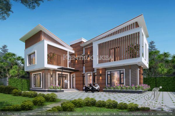 Thiết kế biệt thự chữ L hiện đại 2 tầng mặt tiền 12m (CĐT: ông Hùng - Tây Ninh) BT21337