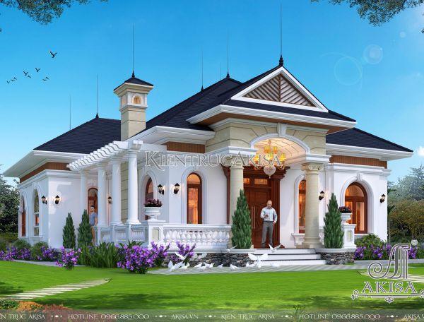 Thiết kế biệt thự 1 tầng tân cổ điển đẹp sang trọng (CĐT: ông Hiếu - Quảng Bình) BT12342