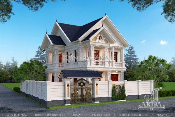 Biệt thự tân cổ điển 2 tầng mái Thái mặt tiền 10m tại Hưng Yên (CĐT: ông Thích - Hưng Yên) BT22350