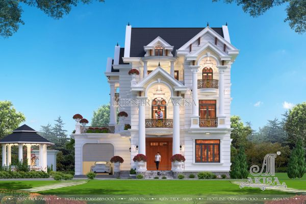 Biệt thự 3 tầng đẹp phong cách tân cổ điển (ông Nhiệm - Đồng Nai) BT32362