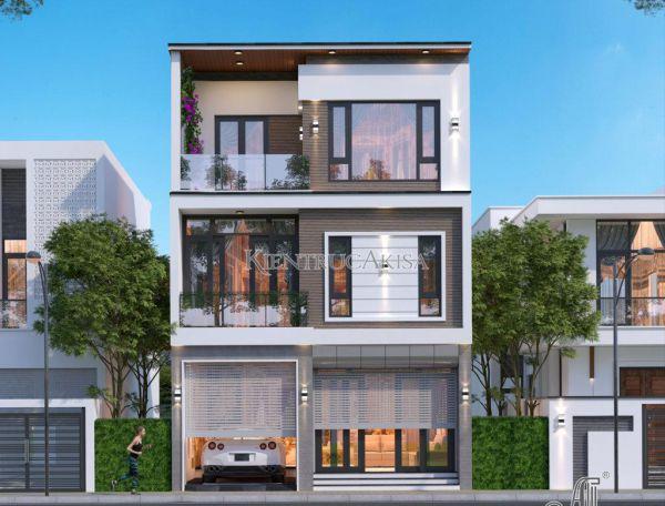 Thiết kế nhà đẹp 3 tầng hiện đại 8x8m (CĐT: ông Ba - Hà Nội) KT31372
