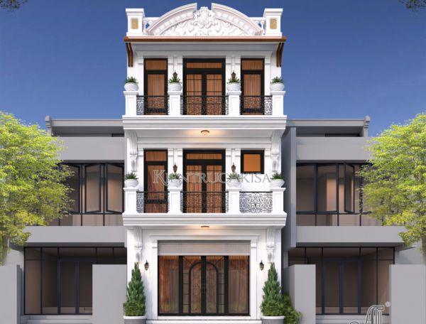Thiết kế nhà lô phố tân cổ điển 3 tầng 180m2 (bà Nga - Hà Giang) KT32349