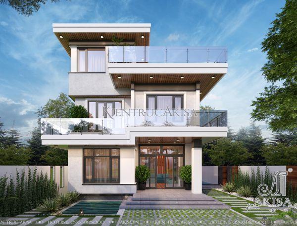 Thiết kế nhà đẹp 3 tầng hiện đại mái bằng (ông Lực - Kiên Giang) BT31358