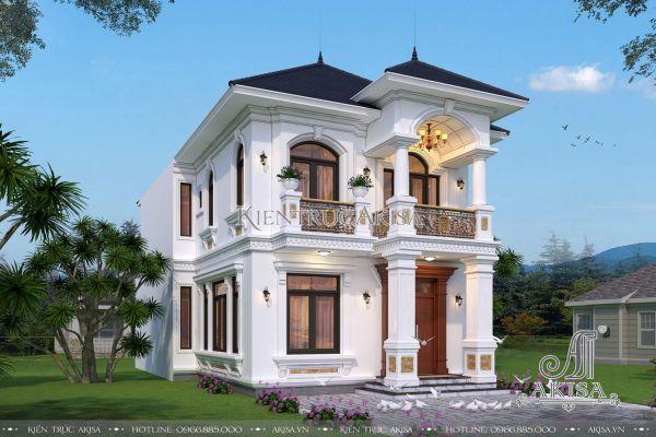 Mẫu biệt thự 2 tầng 130m2 tân cổ điển đẹp (ông Dương - Đăk Lăk) BT22355