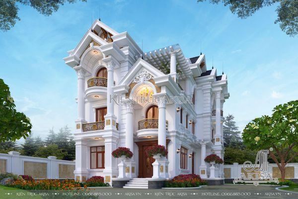 Thiết kế nhà đẹp 3 tầng tân cổ điển (CĐT: bà Ngân - Hải Phòng) BT32370
