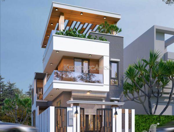 Mẫu nhà 3 tầng hiện đại 2 mặt tiền đẹp (CĐT: bà Thảo - Thanh Hóa) KT31385