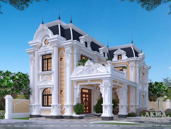 Mẫu nhà biệt thự kiểu Pháp 2 tầng mái Mansard đẹp (CĐT: ông Linh - Nghệ An) BT23366
