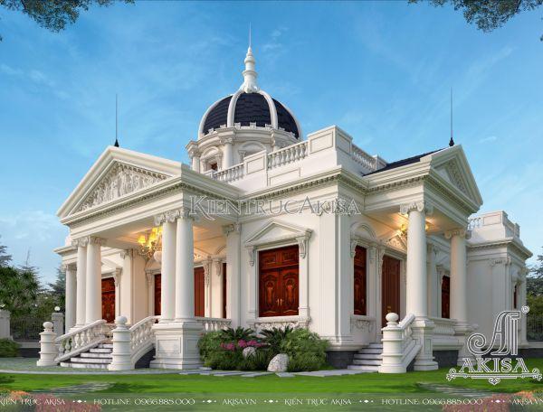 Thiết kế biệt thự 1 tầng kiểu Pháp đẹp đẳng cấp (CĐT: ông Duy - Hà Nội) BT12386