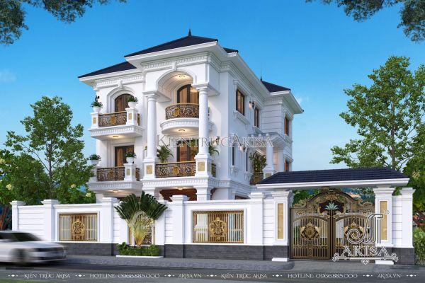 Thiết kế biệt thự đẹp 3 tầng tân cổ điển (CĐT: ông Oanh - Hải Phòng) BT32368