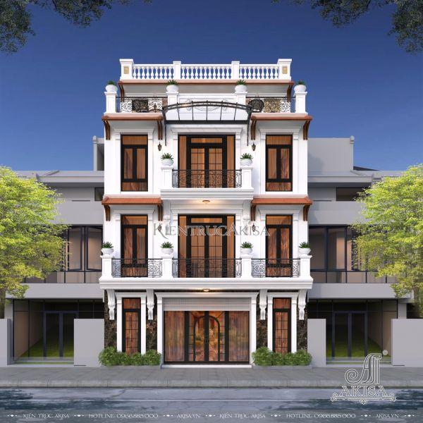 Mẫu nhà biệt thự tân cổ điển 4 tầng đẹp kết hợp kinh doanh (CĐT: ông Tuấn Anh - Yên Bái) BT42389