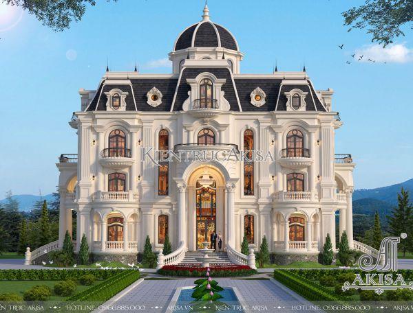 Thiết kế lâu đài dinh thự 3 tầng cổ điển đẹp (CĐT: ông Vương - Ba Vì) BT32285