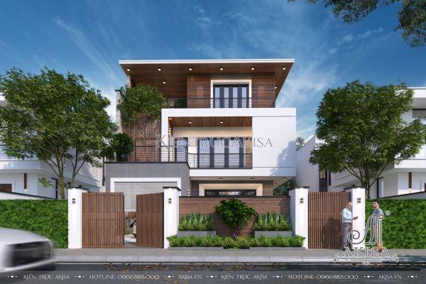 Mẫu nhà 3 tầng đẹp hiện đại mái bằng (CĐT: bà Bình - Vĩnh Phúc) BT31346