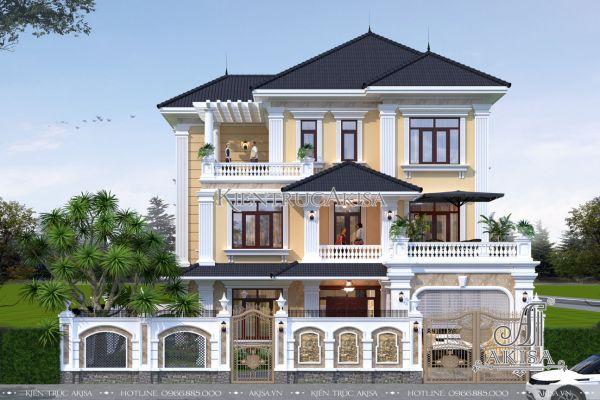 Mẫu nhà biệt thự đẹp 3 tầng tân cổ điển (CĐT: ông Việt - Nghệ An) BT32219