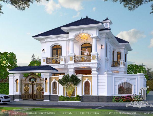 Mẫu biệt thự đẹp 2 tầng mặt tiền 10m (CĐT: ông Đồng - Thanh Hóa) BT22396