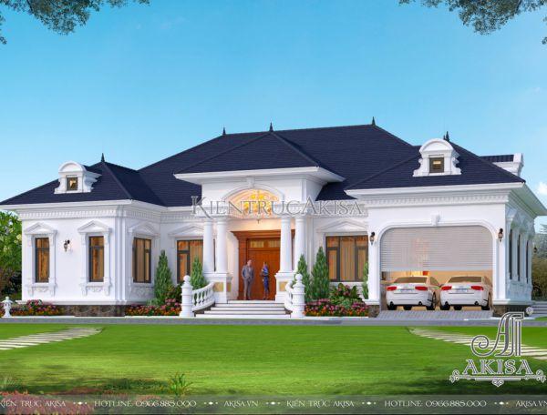 Thiết kế biệt thự nhà vườn 1 tầng tại Ba Vì phong cách tân cổ điển (CĐT: ông Kiên - Hà Nội) BT12398
