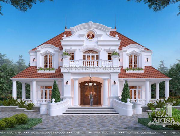 Mẫu biệt thự đẹp 2 tầng tân cổ điển châu Âu (CĐT: ông Kiên - Bắc Giang) BT22399