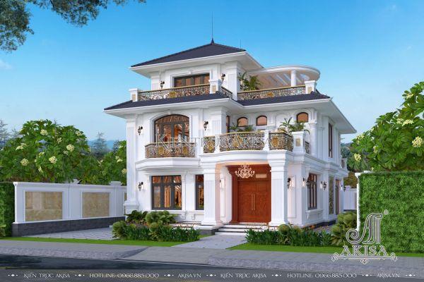 Thiết kế nhà 3 tầng đẹp tân cổ điển mái Nhật (CĐT: ông Dũ- Bình Dương) BT32401
