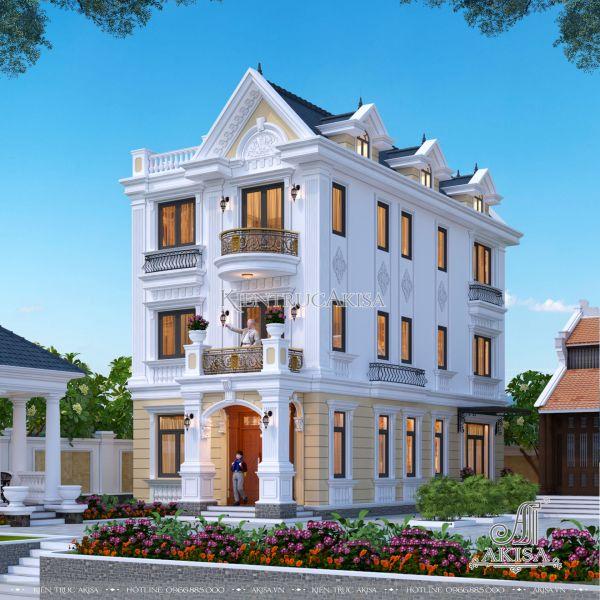 Mẫu nhà biệt thự 3 tầng tân cổ điển mặt tiền 7.3m (CĐT: ông Trình - Hà Nam) BT32405