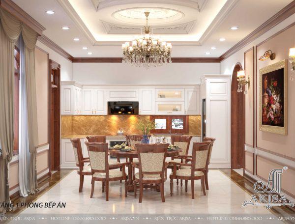 Thiết kế nội thất đẹp tân cổ điển biệt thự 2 tầng mái thái (CĐT: bà Vắng - Hải Phòng) NT22312