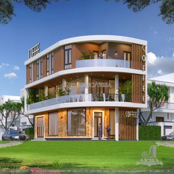 Thiết kế quán caffe kết hợp nhà ở hiện đại 2 mặt tiền (CĐT: ông Lập - Quảng Nam) KT31409