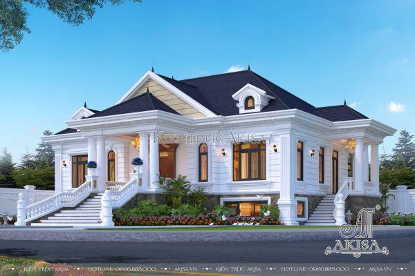 Thiết kế biệt thự 1 tầng nhà vườn tân cổ điển có hầm đẹp nhất 2021 (CĐT: ông Điền - Ninh Bình) BT12411