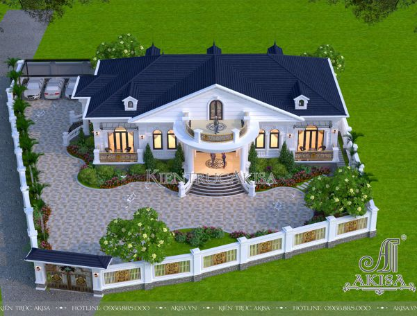 Thiết kế biệt thự đẹp phong cách tân cổ điển 1 tầng (CĐT: bà Hà - Phú Thọ) BT12415