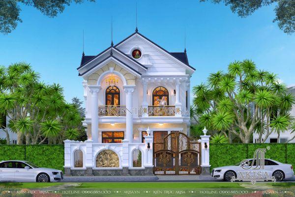 Thiết kế nhà đẹp 2 tầng phong cách tân cổ điển 120m2 (CĐT: ông Tùng - Hải Phòng) BT22417