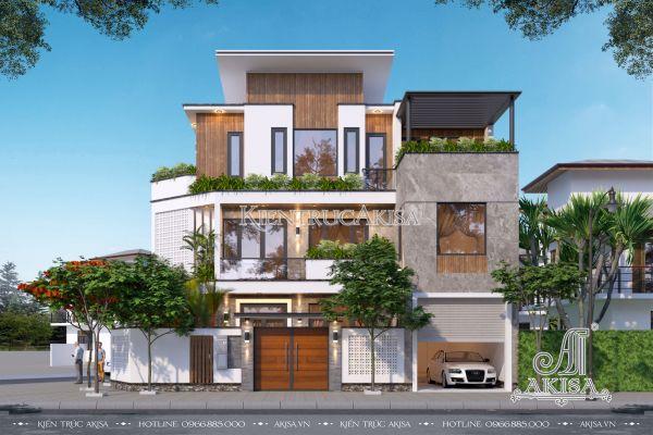 Mẫu biệt thự hiện đại 3 tầng thiết kế phá cách (CĐT: ông Chín - Bình Thuận) BT31426