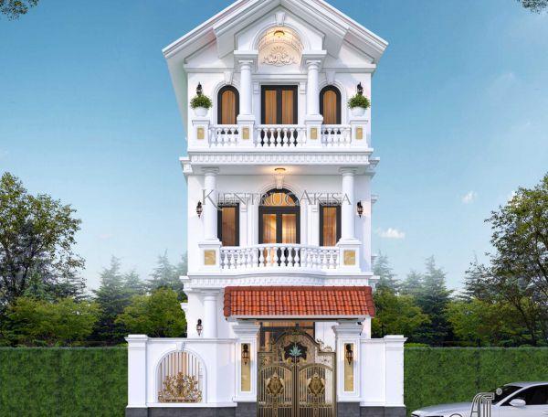 Mẫu thiết kế nhà phố tân cổ điển 3 tầng đẹp 7x13m (CĐT: bà Oanh - Hà Nội) KT32428