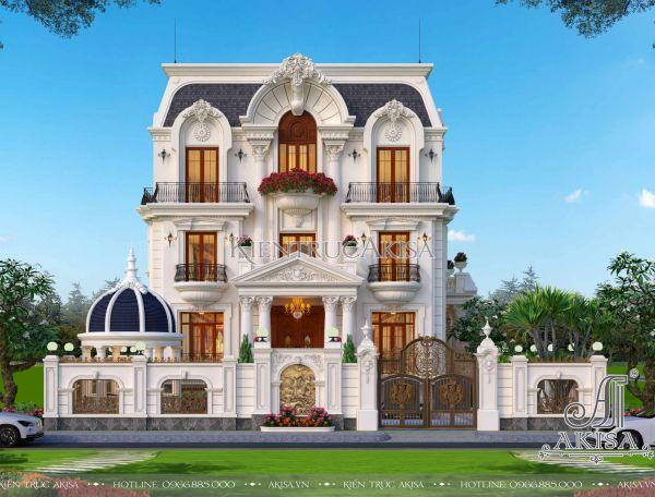 Thiết kế biệt thự mái Mansard 3 tầng tân cổ điển có hầm (CĐT: ông Phú - Bình Định) BT32430
