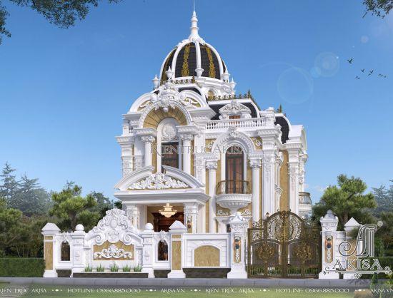 Thiết kế biệt thự Pháp cổ điển 2 tầng siêu ấn tượng (CĐT: ông Bảo - Thái Bình) BT23431
