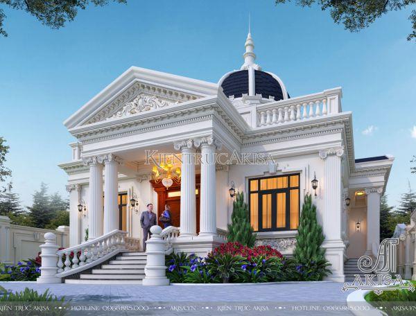 Mẫu biệt thự nhà vườn 1 tầng kiểu cổ điển Pháp 240m2 (CĐT: ông Lắm - Tiền Giang) BT12437