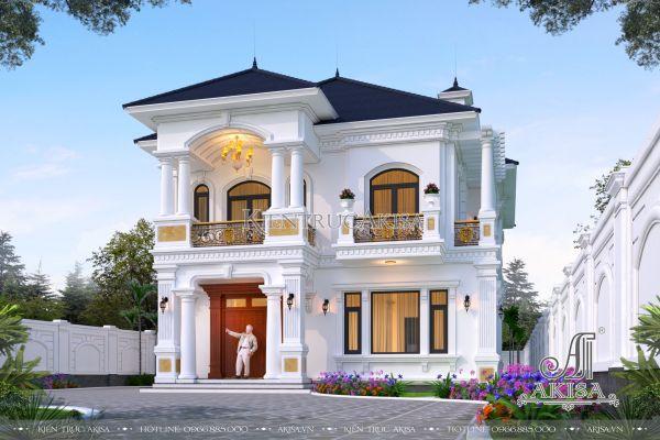 Mẫu thiết kế biệt thự sân vườn đẹp tại Hải Phòng (CĐT: bà Hảo - Thủy Nguyên) BT22443