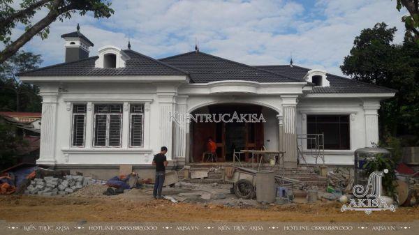 Hình ảnh thi công biệt thự 1 tầng tân cổ điển mái Nhật (CĐT: ông Thành - Phú Thọ) TC12215