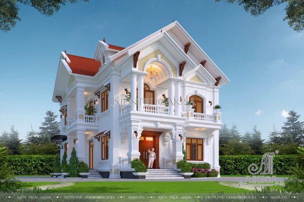 Mẫu nhà biệt thự 2 tầng tân cổ điển (CĐT: ông Nga - Bắc Giang) BT22445